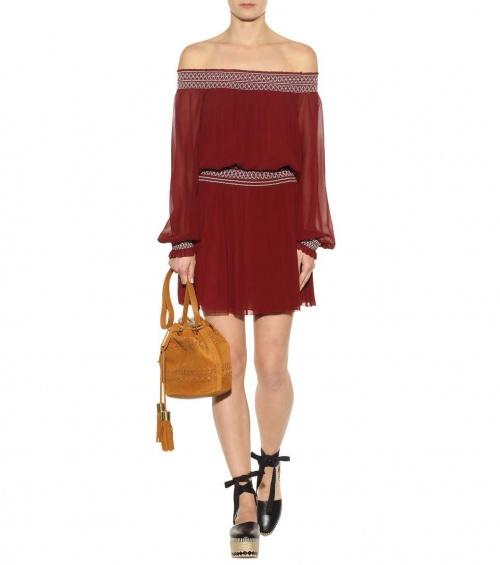 Robe bardot rouge brique