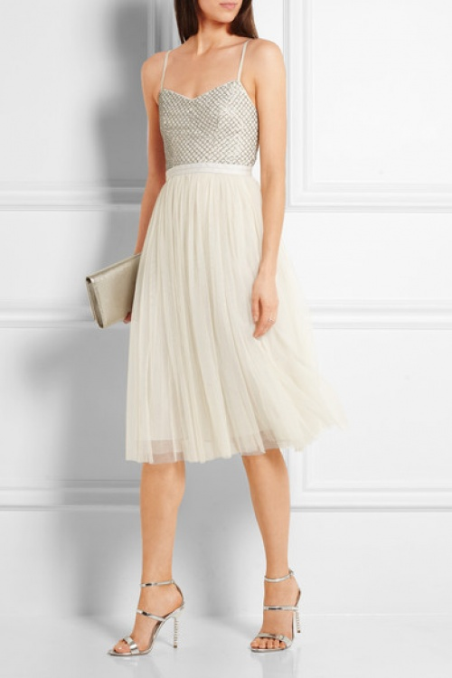 Robe midi en gaze et tulle à ornements