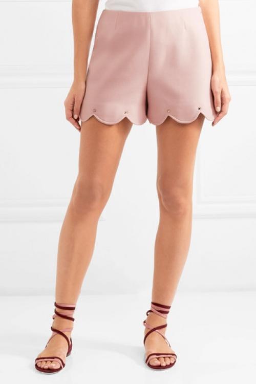 Short en crêpe de laine rose