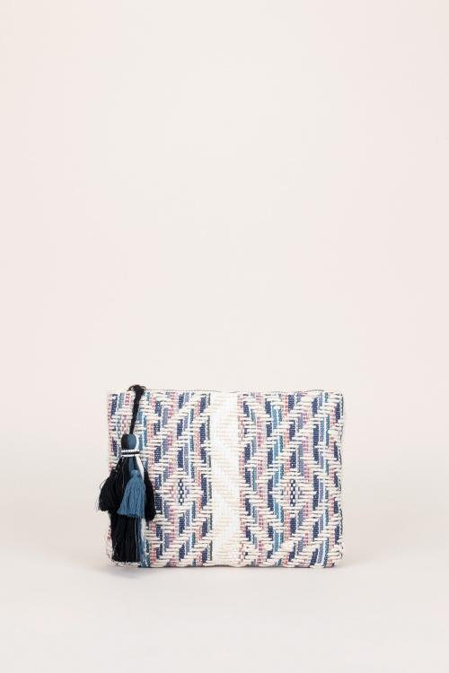 Pieces  Pochette bleue/grise/rouge à motifs tissé