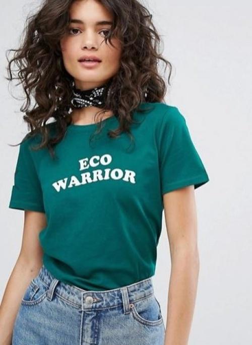 People Tree - T-shirt en coton bio avec inscription Eco Warrior