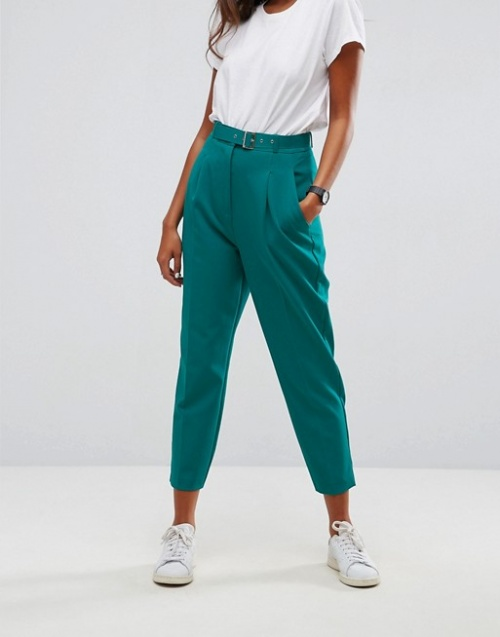Asos Tailored - Pantalon avec ceinture - Vert pop