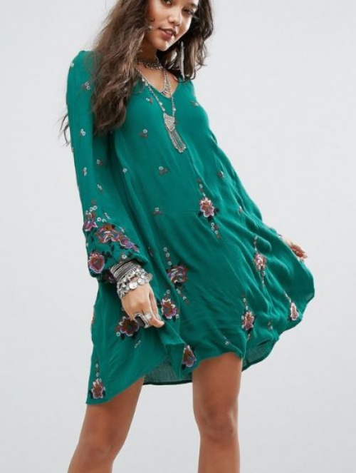 Free People - Robe courte brodée style Oxford