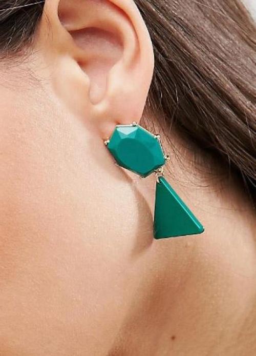 Asos - Boucles d'oreilles joyaux géométriques - Vert pop