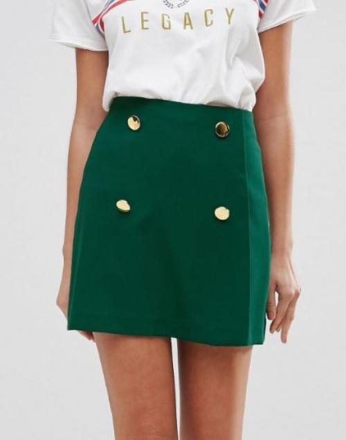 Asos - Mini-jupe trapèze ajustée boutonnée sur le devant