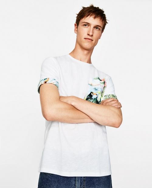 t-shirt imprimé à poche