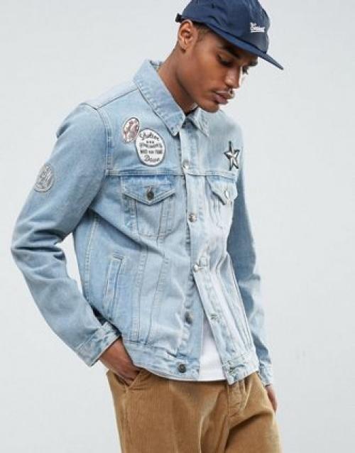 veste en jean avec écussons