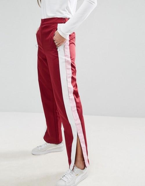 Asos - Pantalon de jogging droit avec bandes sur les côtés et anneaux