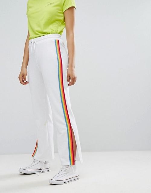 Daisy Street - Pantalon de jogging large à bandes fluo style sport