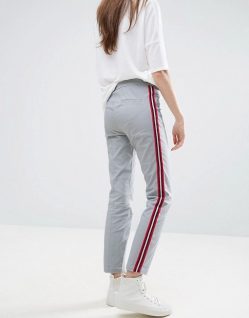 Asos - Pantalon cigarette avec rayures sur les côtés