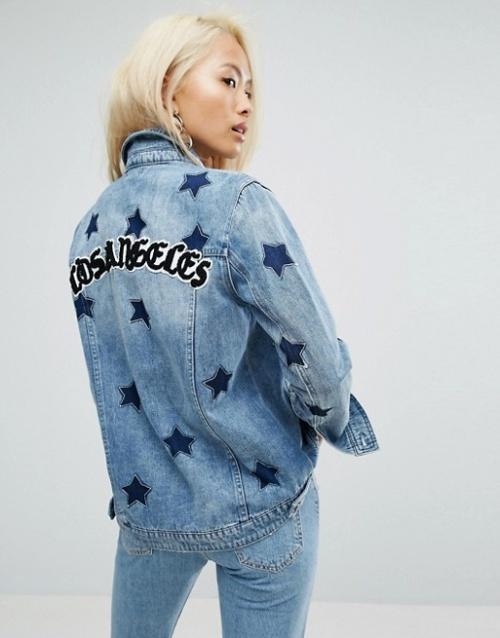 Arrive - Los Angeles - Veste girlfriend à imprimé étoiles avec inscription