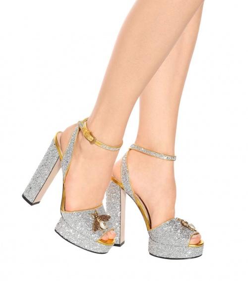 sandales plateau brillantes