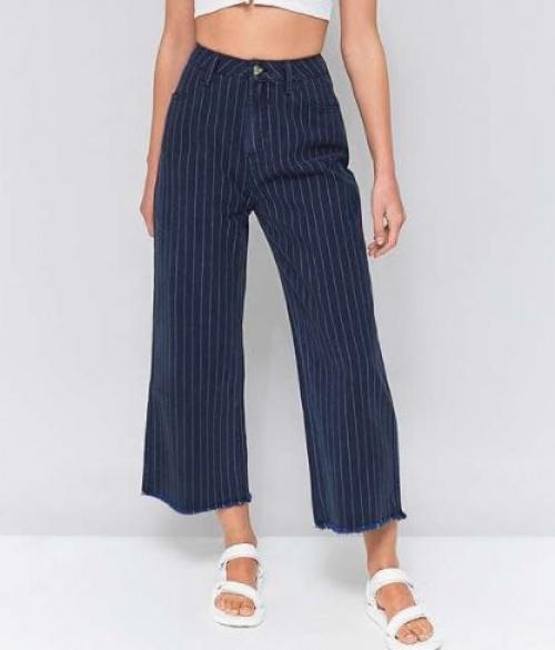 BDG - Jupe-culotte à fines rayures et bord brut