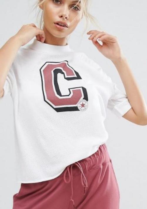 Converse - T-shirt style universitaire col montant en maille