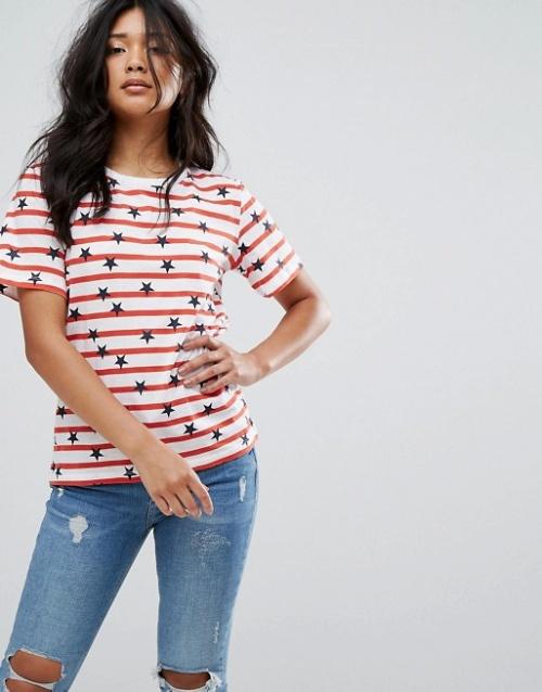Warehouse - T-shirt imprimé étoiles et rayures