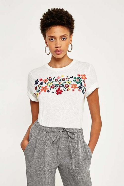 Pins & Needles - T-shirt délavé à broderies fleuries