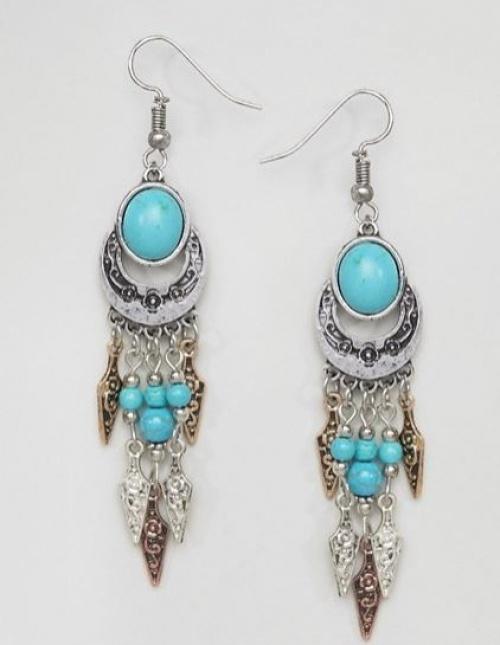 Reclaimed Vintage Inspired - Pendants d'oreilles en métaux mélangés avec pierre turquoise