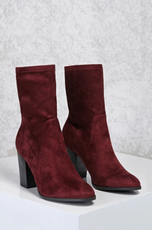 Bottines en suédine bordeaux