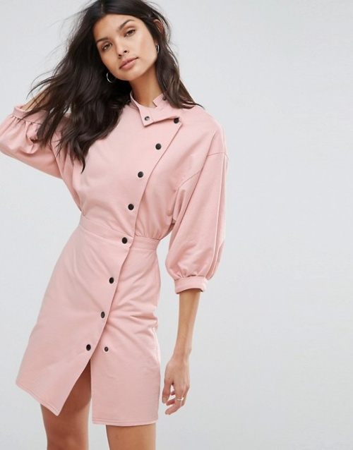 Asos - Robe courte avec boutons style 80's