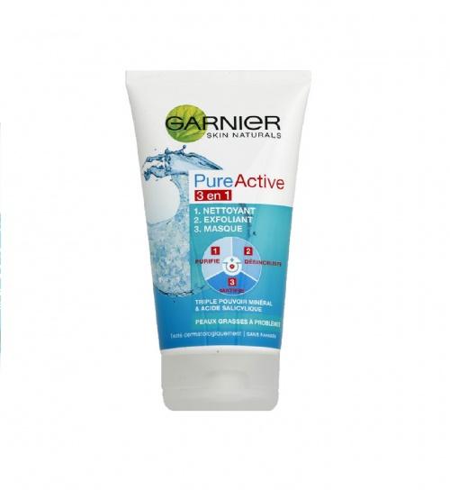3 en 1, nettoyant, exfoliant, masque, peaux à problèmes tenaces - Garnier