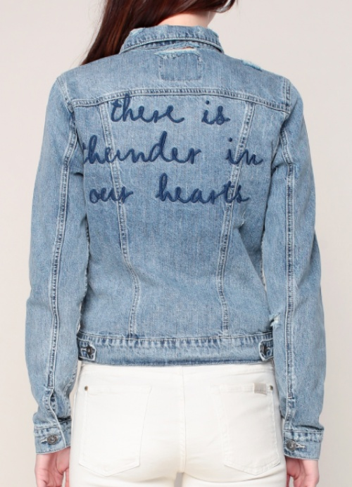 Veste en denim à message