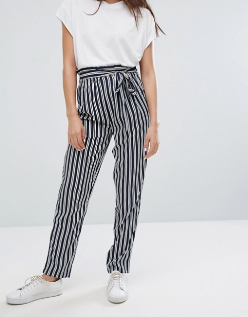 Noisy May - Pantalon rayé avec liens à nouer à la taille