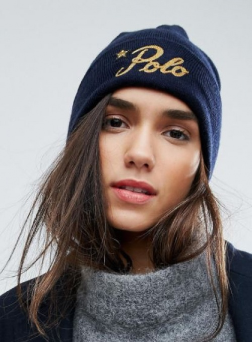 Polo Ralph Lauren - Bonnet en laine avec logo doré