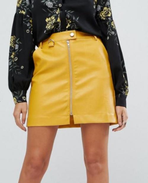 Fashion Union - Mini-jupe en similicuir avec fermeture éclair