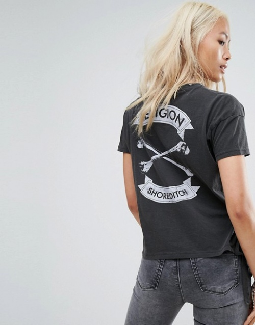 Religion - T-shirt avec imprimé os croisés au dos et col à chaîne