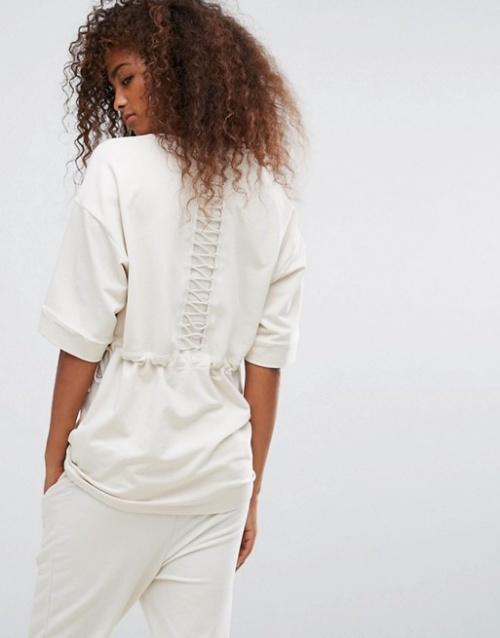 Puma - T-shirt en velours et laçage en cordelette