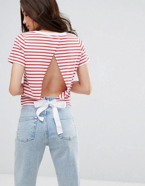 Miss Selfridge - Exclusivité - T-shirt avec lien à nouer dans le dos