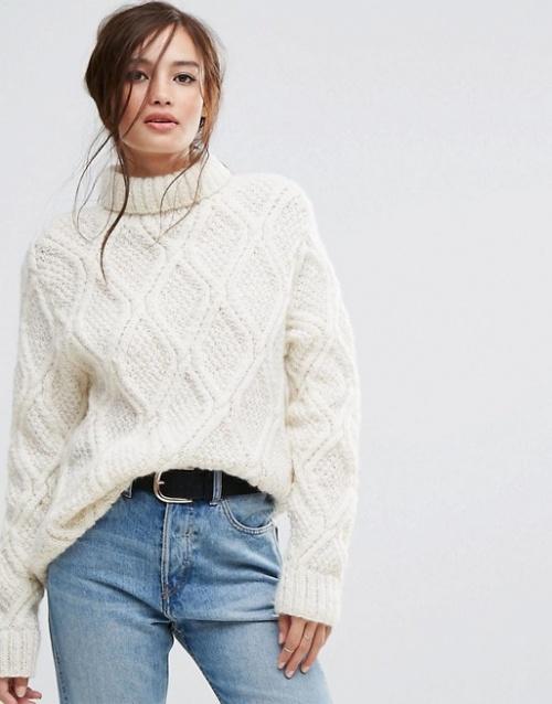 People Tree - Pull oversize à col montant tricoté à la main avec laine torsadée non blanchie