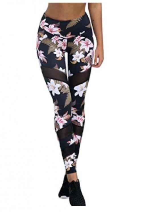 Pantalon yoga fleuri