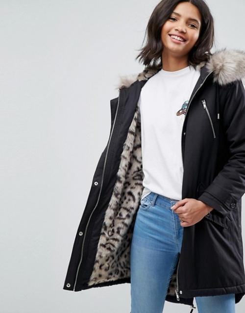Asos - Parka avec doublure en fausse fourrure façon léopard des neiges