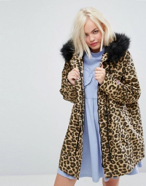Lazy Oaf - Purrfect - Parka oversize à imprimé léopard