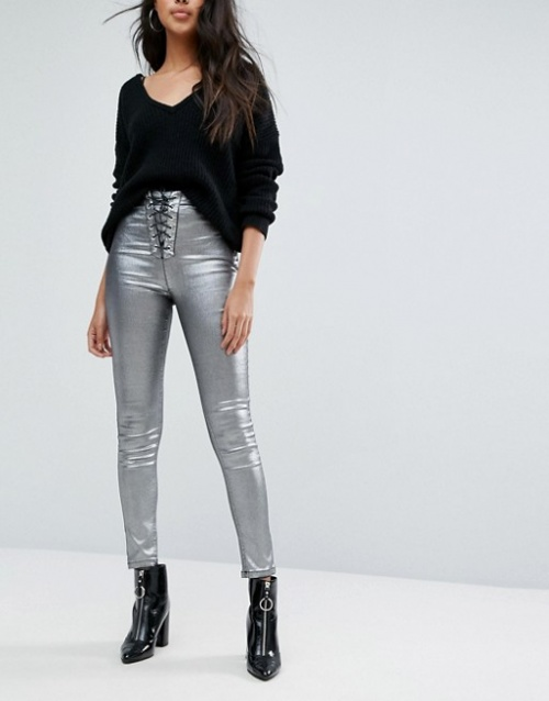 Missguided - Jean skinny enduit à lacets