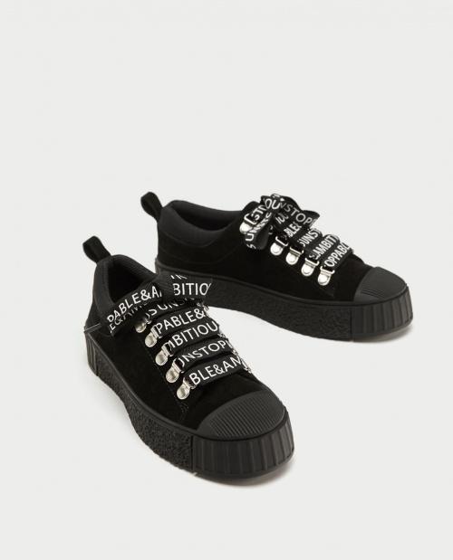 Zara - Baskets noires à rubans