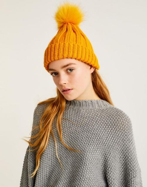Pull&Bear - Bonnet orange à pompon