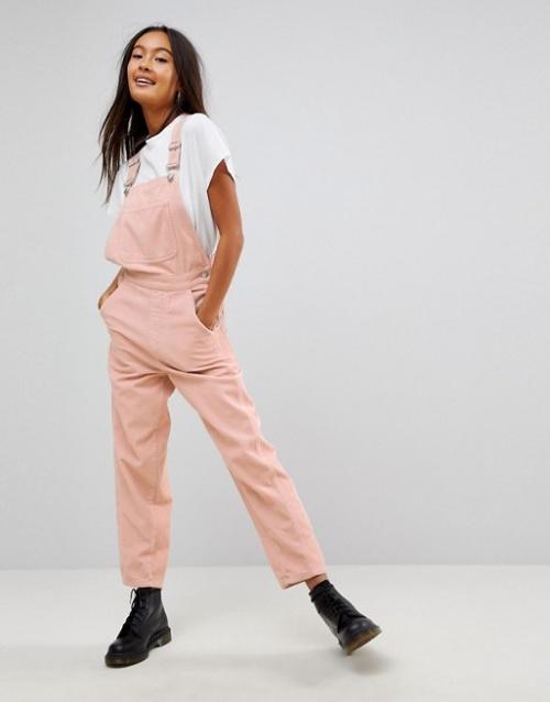 Asos - Salopette en velours rose pale