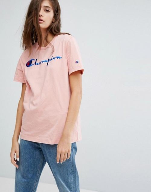 Champion - T-shirt oversize avec logo sur le devant