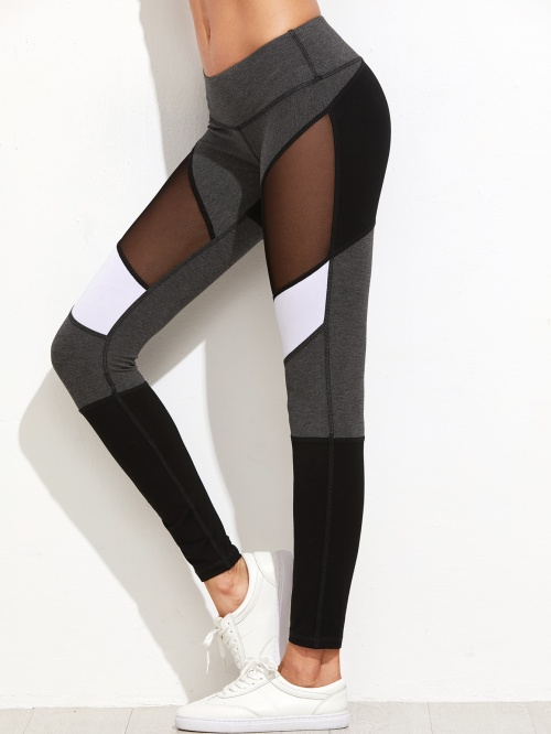 Romwe - Legging gris et blanc