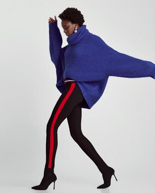 Zara - Leggings noire et noire à rayures