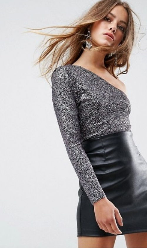 Missguided - Body asymétrique à paillettes