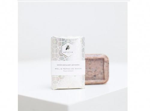 Apicia - Savon Exfoliant Miel & Pépins de Raisin