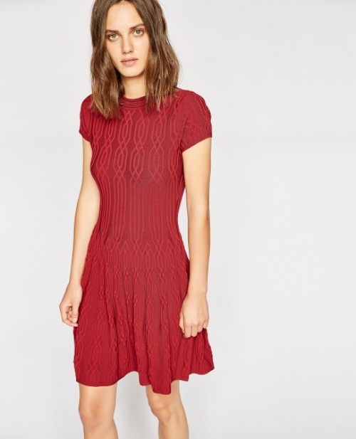 Robe maille rouge motif jacquard