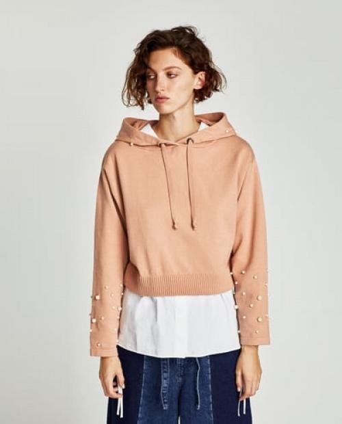Zara - Sweat à capuche et perles d'imitation