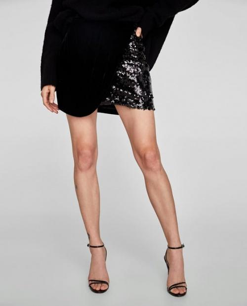 Zara - Jupe en velours bimatière à paillettes