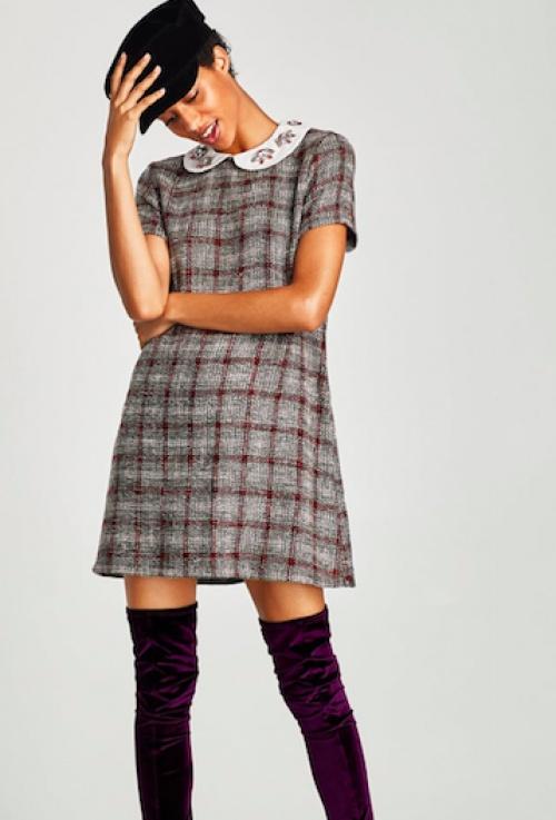 Zara - Robe en tweed col bijou