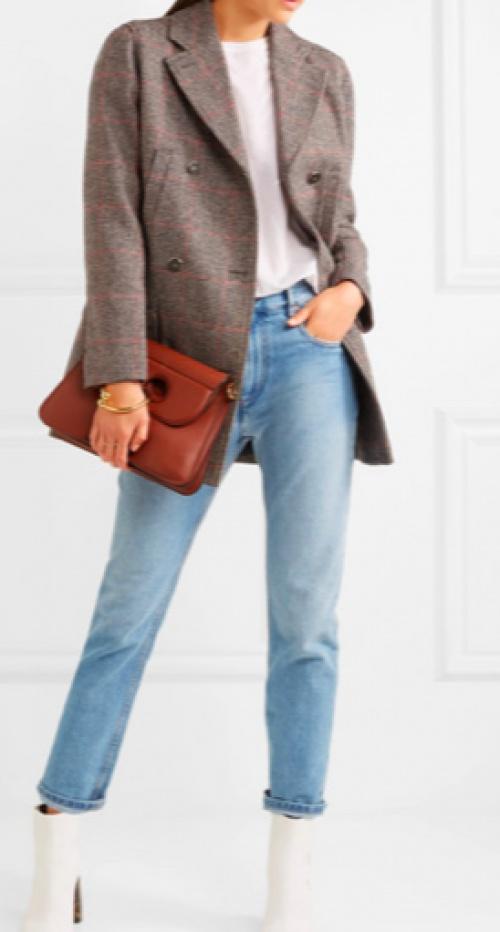 Vanessa Seward - Manteau à double boutonnage en tweed de laine à carreaux