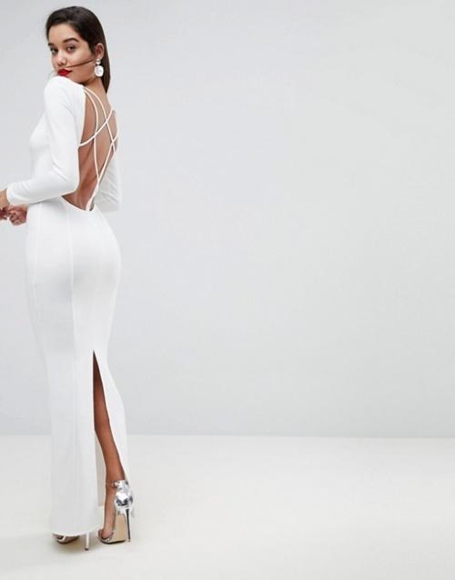 ASOS - Robe longue à manches longues avec grand décolleté dos et épaules fantaisie
